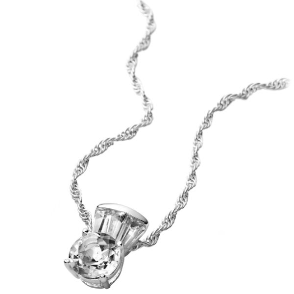 Silver Plated Round White Topaz Necklace
