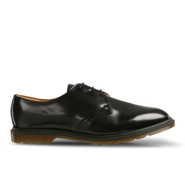 Dr. Martens Men's 'Made in England' Steed 3-Eye Leather Shoes - Black Polished Smooth
