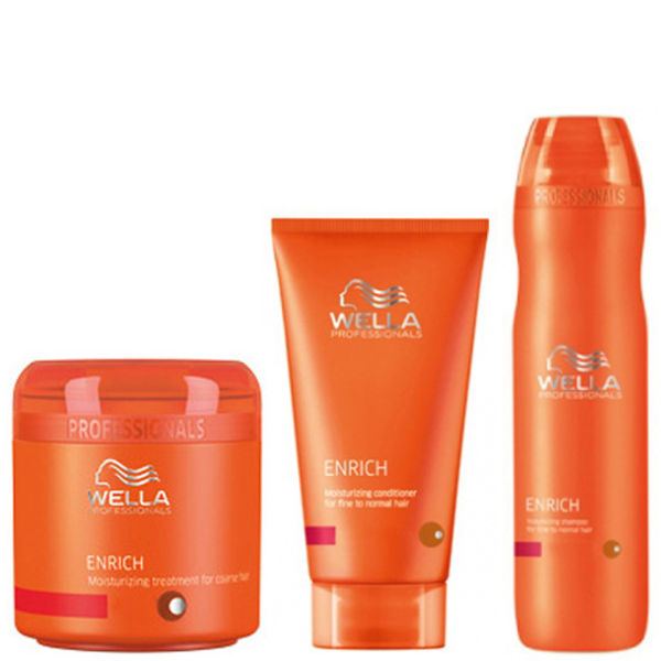 Wella Professionals Enrich Volumising Trio for Fine to Normal Hair- Shampooing, après-shampooing et traitement