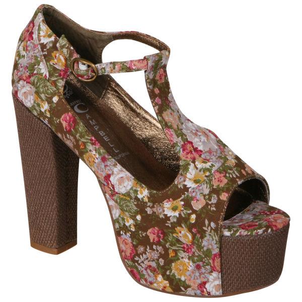 Jeffrey Campbell Women's Foxy Shoes - Khaki Floral