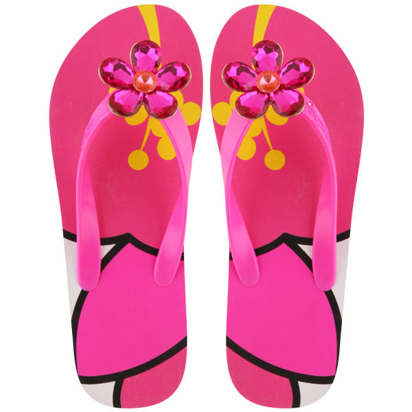 Miss Trish Women's Flower Flip Flops - Magenta