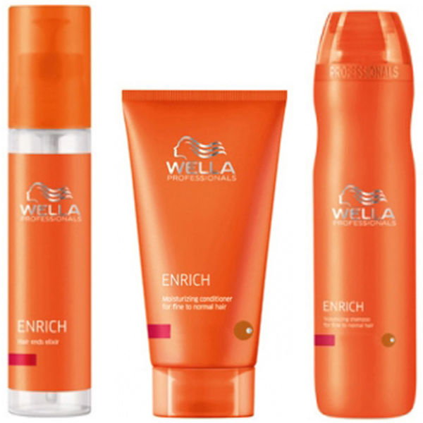 Wella Professionals Enrich Volumising Trio for Fine to Normal Hair- Shampooing, après-shampooing et élixir