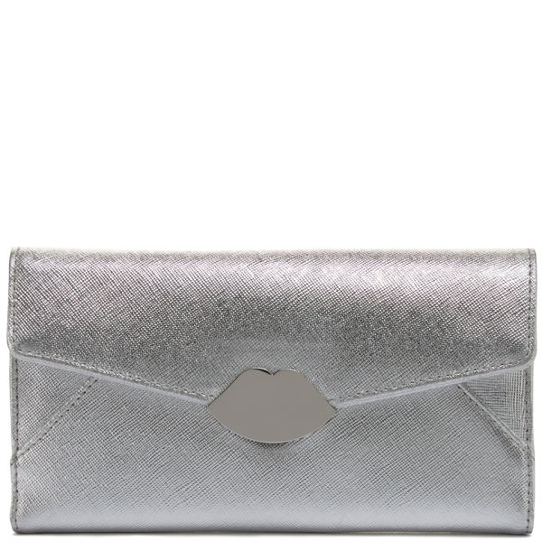 Lulu Guinness Metallic Cross Hatched Leather Wallet - Silver