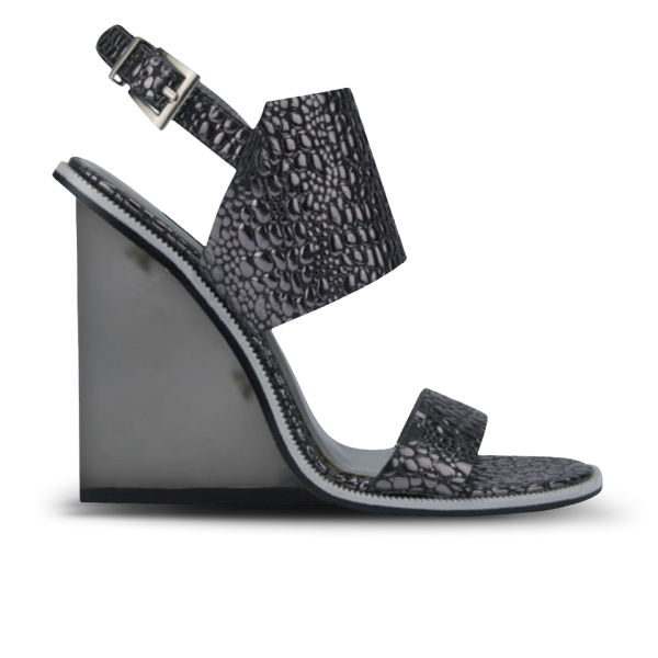 Senso Women's Wilma II Metallic Croc Leather Wedges - Pewter