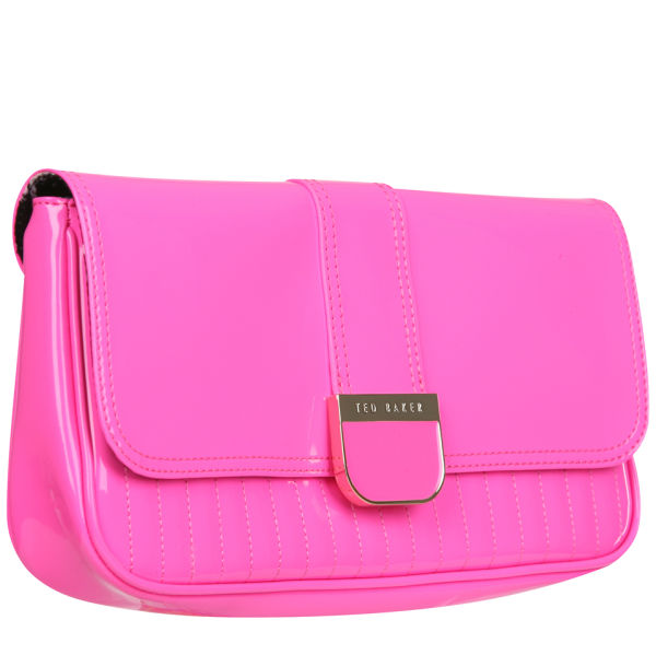 Ted Baker Benet Quilted Enamel Clutch Bag Bright Pink Image 2