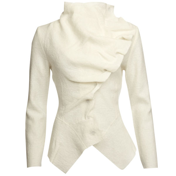 GROA Women's Boiled Wool Winter Jacket - Winter White