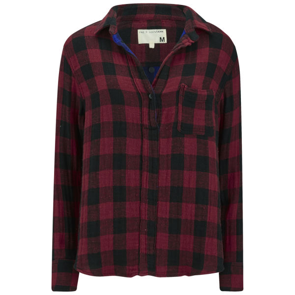 rag & bone Women's Oversize Contrast Lining Plaid Shirt - Red Buffalo