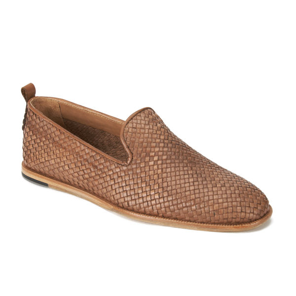 a7f90a07c8004b Hudson London Men s Ipanema Weave Slip on Leather Shoes - Tan  Image 5