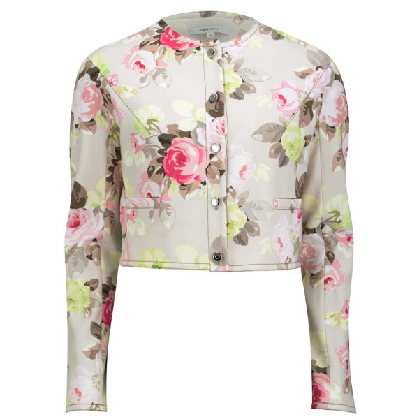Carven Women's Cropped Floral Print Jacket - Sand