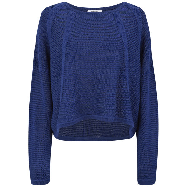 Helmut Lang Women's Loose Knit Cropped Jumper - Dark Lapis