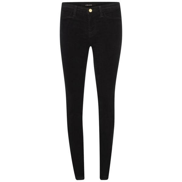 J Brand Women's Mid Rise Luxe Veleveteen Velvet Skinny Jeans - Black