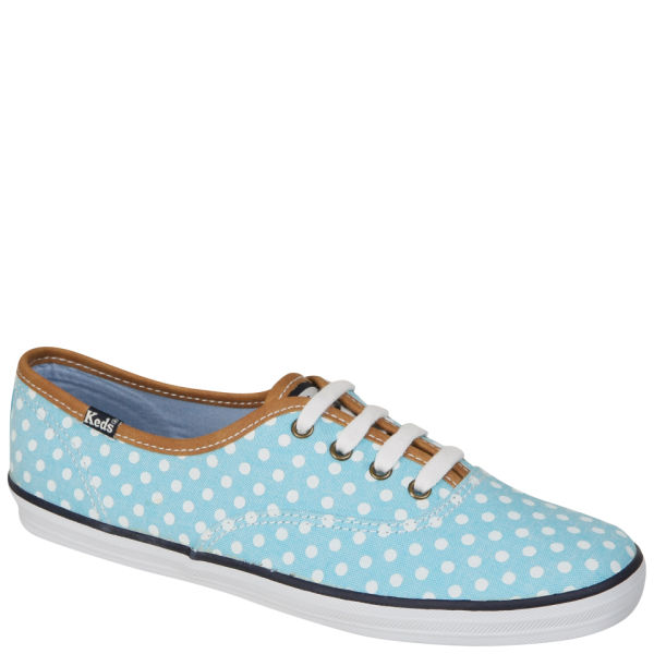 Keds Polka Dot Champion Oxford Pumps - Aqua/White