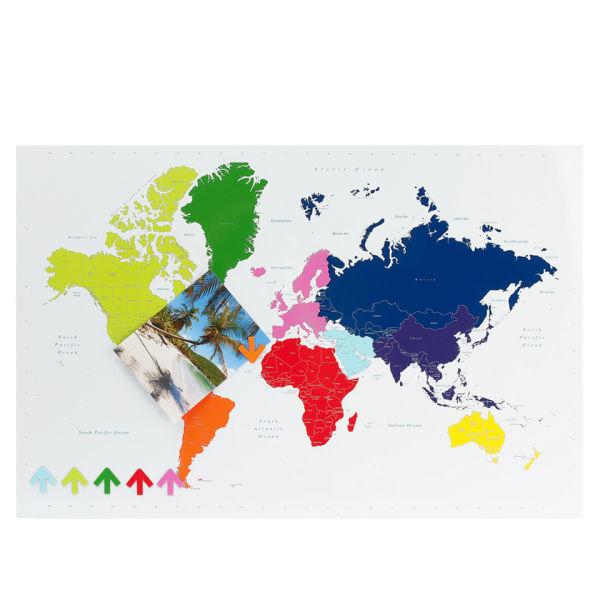 present time multi colour magnetic world map memo board. Black Bedroom Furniture Sets. Home Design Ideas