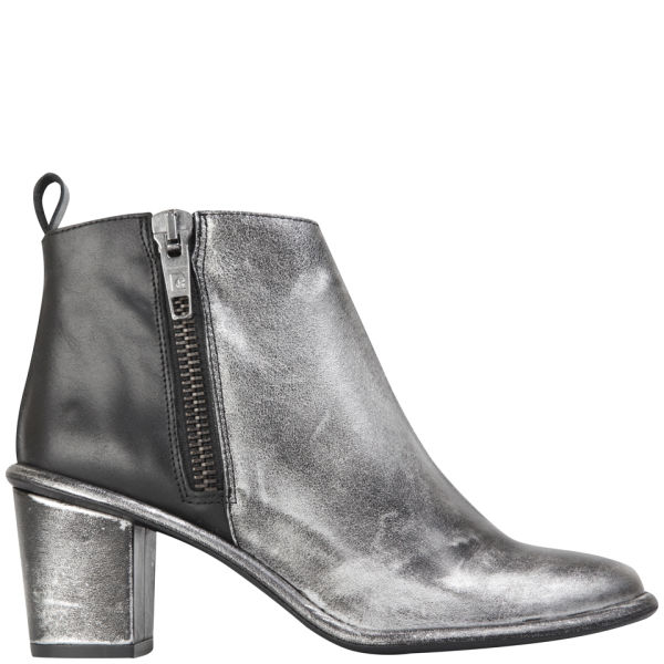 Miista Women's Alice Heeled Leather Ankle Boots - Black/Silver
