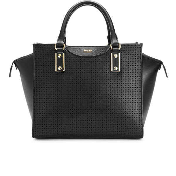 BOSS Hugo Boss Maika-P Perforated Leather Wing Tote Bag - Black