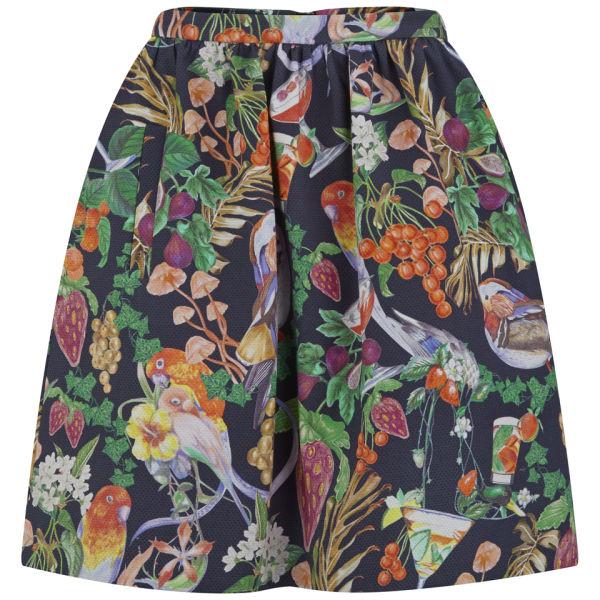 Matthew Williamson Women's Gathered Rainbow Morris Skirt - Navy/Rainbow
