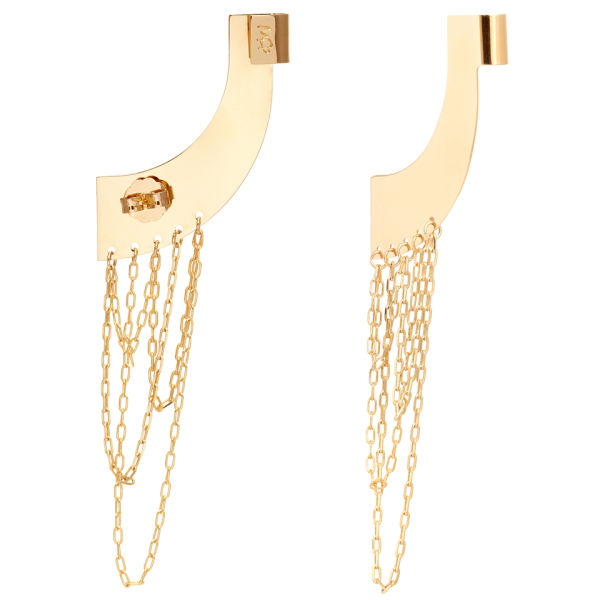 Maria Francesca Pepe Earcuff Earrings with Chains - Gold