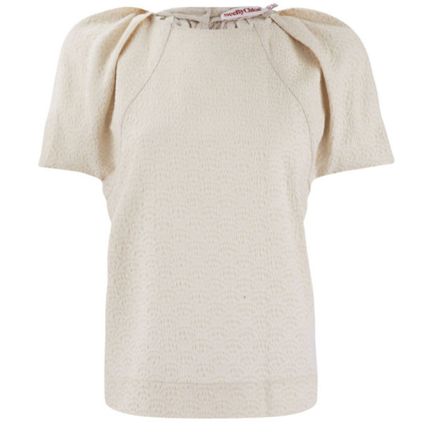 See By Chloé Women's Neon Crinkled Jacquard Top - Cream