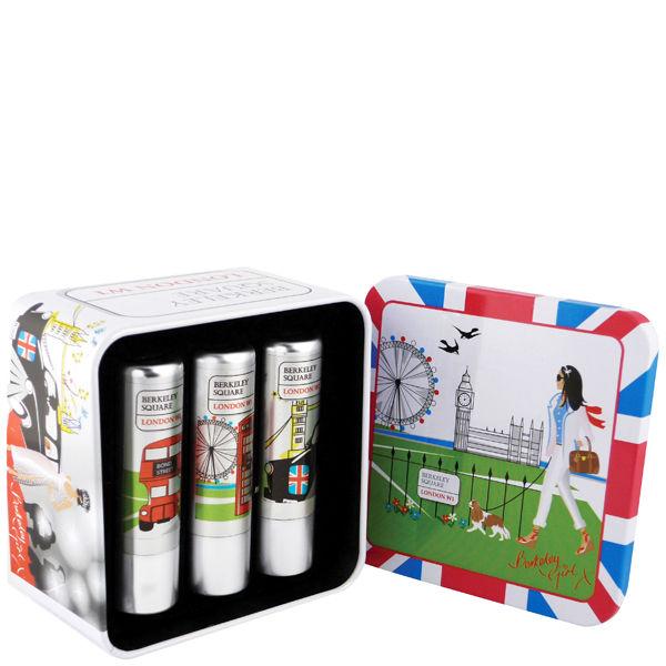 BERKELEY SQUARE LONDON W1 PERFECT POUT LIP BALM TIN (3 PRODUCTS)