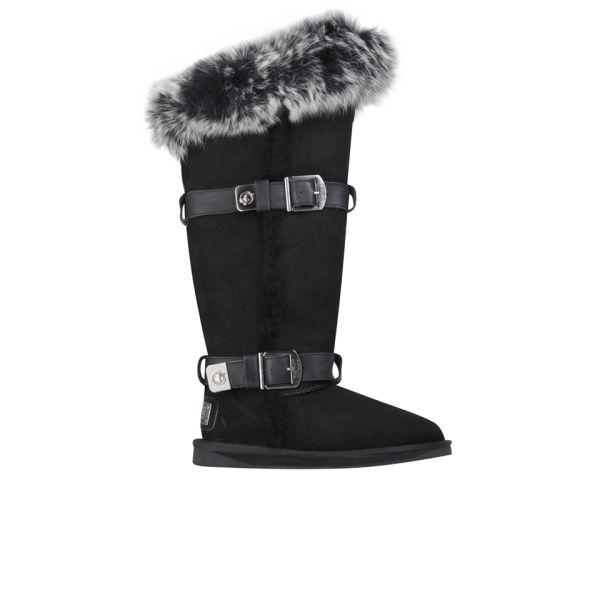 Australia Luxe Women's Tsar Extra Tall Sheepskin Fox Fur Boots - Black