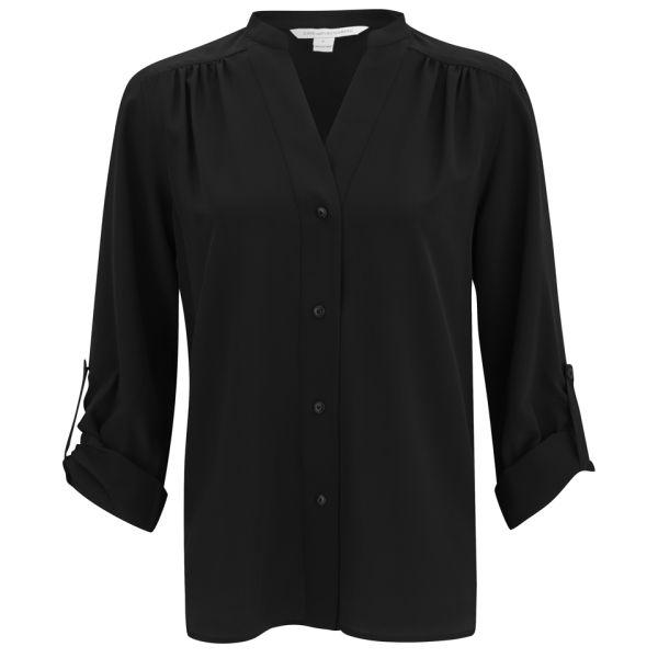 Diane von Furstenberg Women's Harlow Silk Blouse - Black