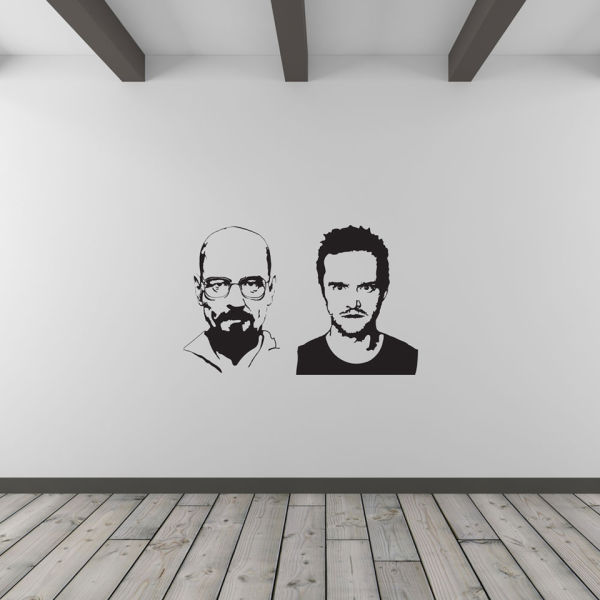 jesse pinkman and heisenberg vinyl wall art decal (with free bansky