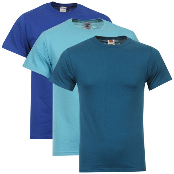 Fruit of the loom jerzees men 39 s 3 pack t shirts small for Aqua blue mens dress shirt