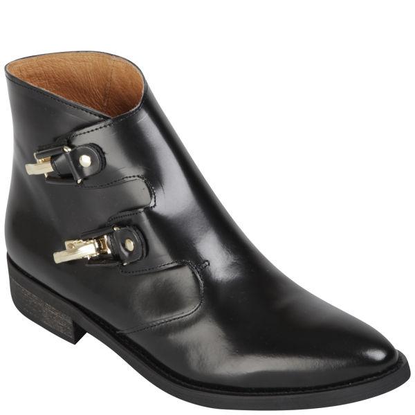Miista Women's Pandora Leather Buckle Boots - Black