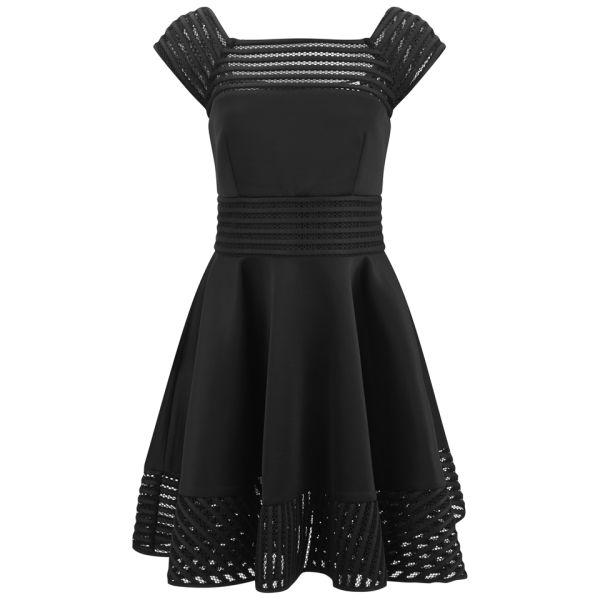 MILLY Women's Square Neck Full Dress - Black