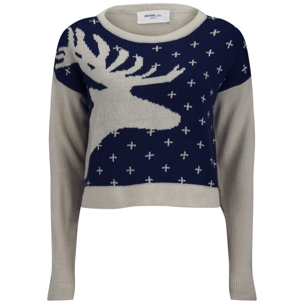 Vero Moda Women's Lucila Reindeer Christmas Jumper - Black Iris