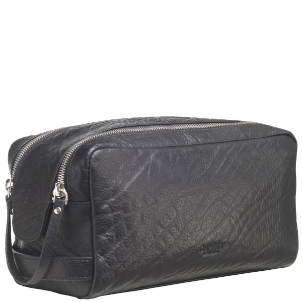 95530ec822 OSPREY LONDON The Freddie Shrunken Grain Leather Washbag - Black  Image 1