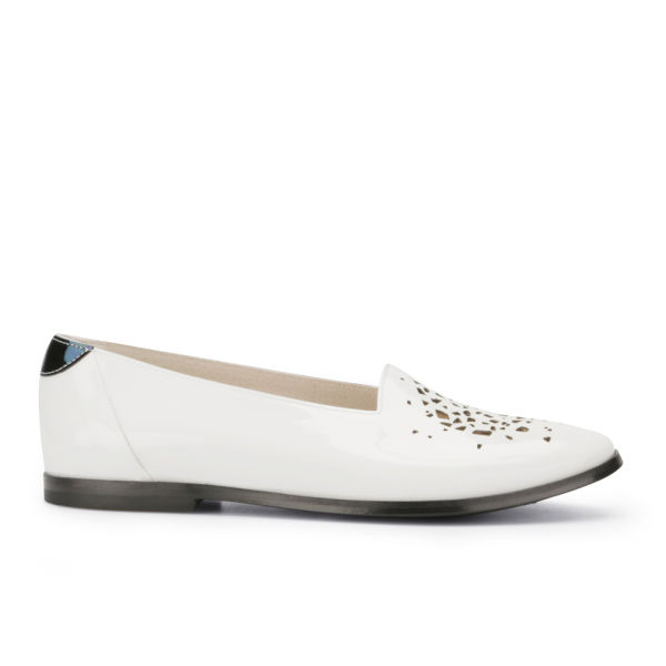 New Kid Women's Elma Neat Laser Cut Leather Loafers - White