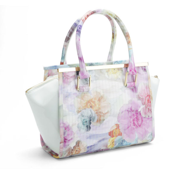 b448a321007c68 Ted Baker Women s Kerie Floral Print Metal Bar Wing Tote Bag - Pale Green   Image