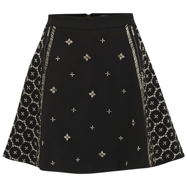 AnhHa Women's Neoprene Embellished Beaded Skater Skirt - Black