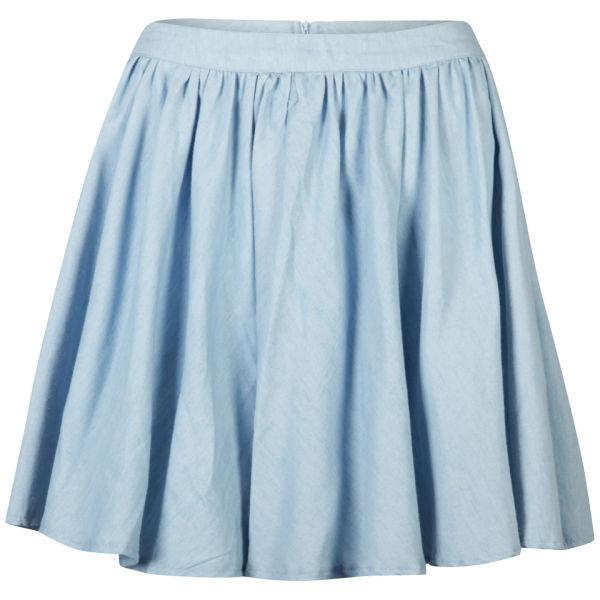 AX Paris Women's Denim Skater Skirt - Denim Blue