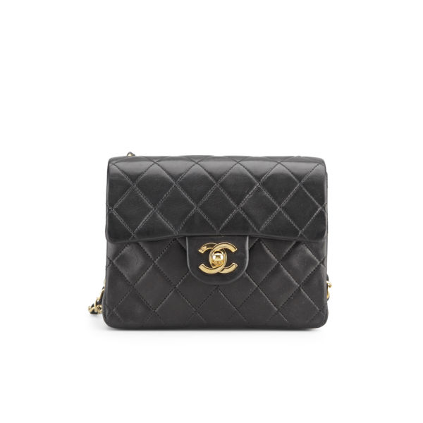 Chanel Vintage Leather Black Quilted Mini Shoulder Bag - Black