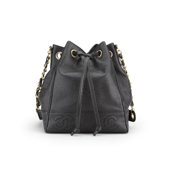 Chanel Vintage Black Caviar Leather Duffle Bag - Black