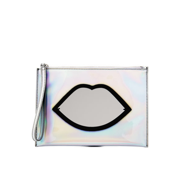 Lulu Guinness Women's Medium Hologram Perspex Lips Pouch - Silver