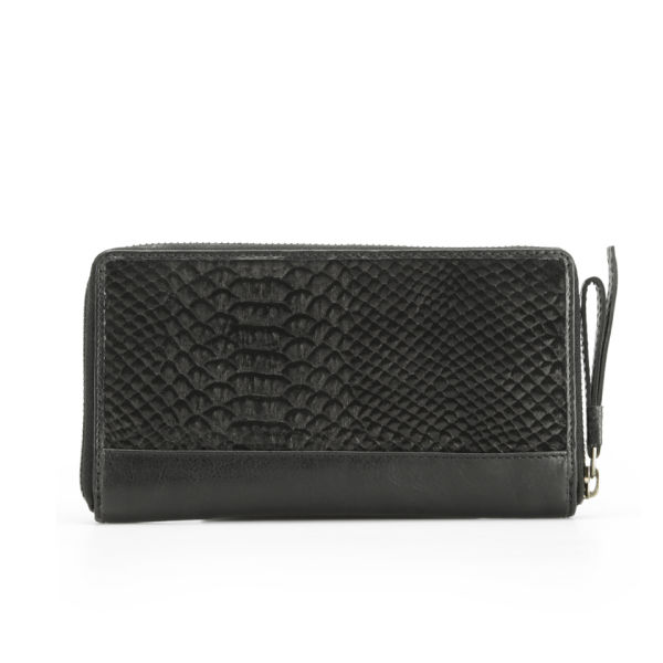 Markberg Women's Viola Zip Top Snake Leather Wallet - Black Snake