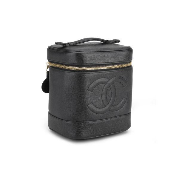 c74ccdcda208db Chanel Vintage Black Caviar Leather Vanity Case Bag - Black: Image 2