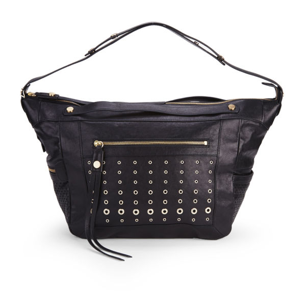 BOSS Orange Rayda-E Perforated Studded Leather Slouch Tote Bag - Black