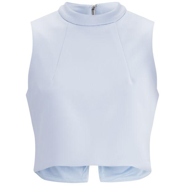 Lavish Alice Women's Scuba Lace Split Back Crop Top - Powder Blue