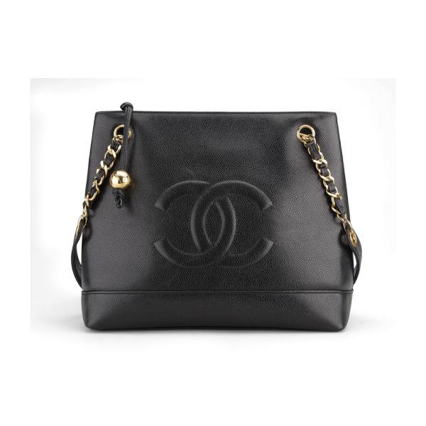 Chanel Vintage Black Caviar Leather Shoulder Tote Bag - Black