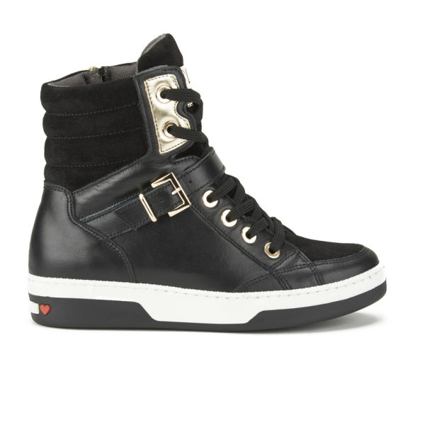 Love Moschino Women's Hardware Leather High Top Trainers - Black