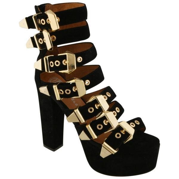 Jeffrey Campbell Women's Donata Gold Buckle Heels - Black
