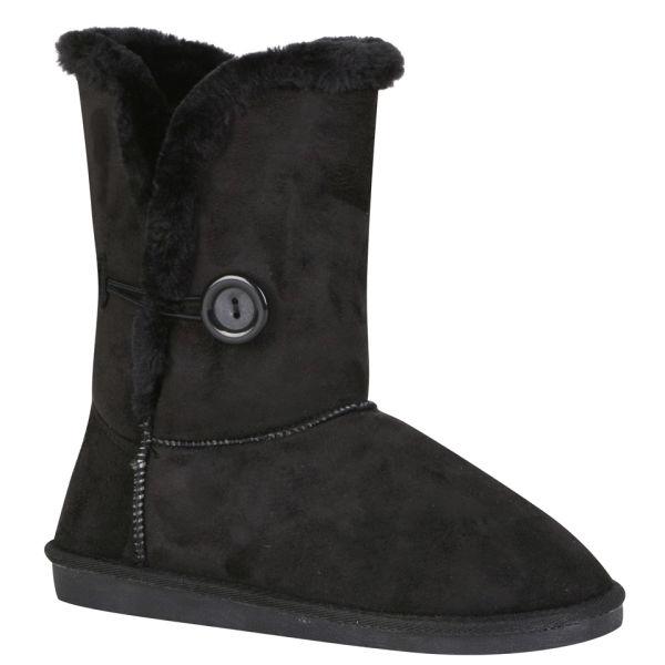 Red Rock Women's Ugg Style Faux Sheepskin Boots - Black