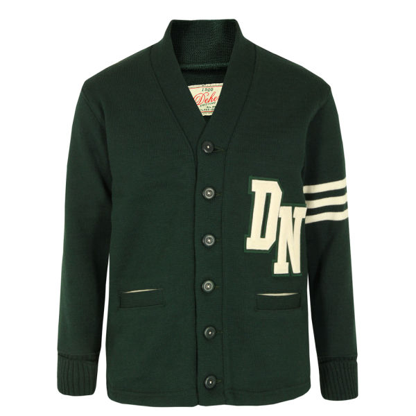 Dehen Men's Signature Varsity Cardigan - Green/White