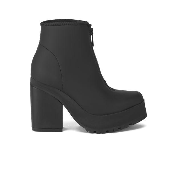 Miista Women's Virginia Zip Front Leather Heeled Ankle Boots - Black
