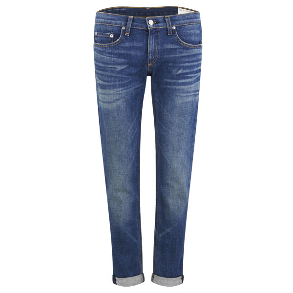 rag & bone Women's The Dre Bradford Mid Rise Cropped Slim Fit Boyfriend Jeans - Denim