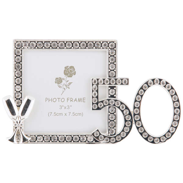 50th birthday diamante frame 3x3 clear Traditional Gifts | Zavvi